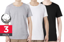 bay6 Men's Plain T-Shirt 3 Pack - 100% Cotton