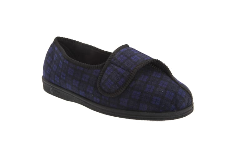 Comfylux Mens Georgie Superwide Slippers (Navy Blue) (10 UK)