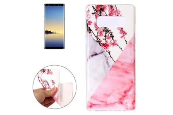 For Samsung Galaxy Note 8 Back Case Elegant Marbled Cover Cherry Pink White