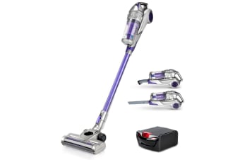 Devanti 120W Handstick Bagless Cordless Vacuum Cleaner Purple Grey with Spare Battery