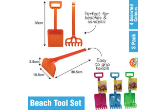 3PK Orange Kids Beach Tool Set Sandpit Toy Tools Trowel Shovel Rake Fork Summer Beach