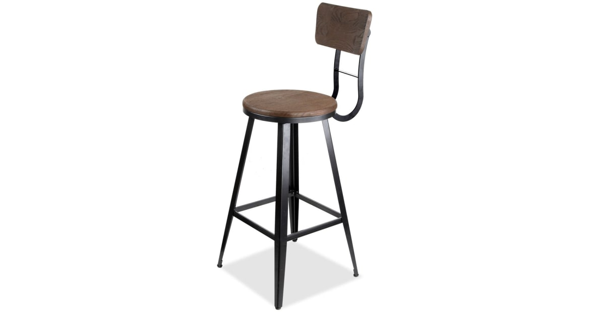 Industrial Bar Stool With Backrest 76cm Kogan Com