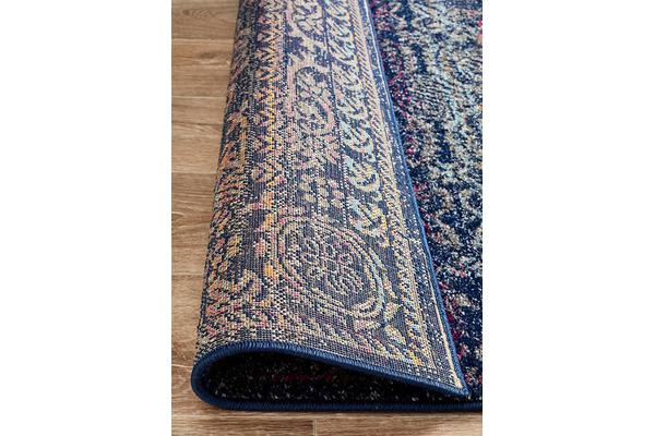 Hazel Navy & Multi Durable Vintage Look Runner Rug 300x80cm
