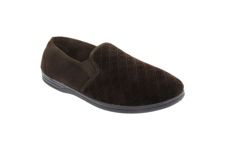 Zedzzz Mens Kevin Velour Twin Gusset Slippers (Brown) (10 UK)