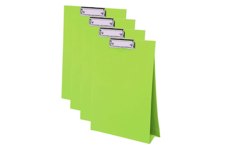 4x ColourHide A4 Paper Stand Up Clipboard/Whiteboard Document Writing Board GRN