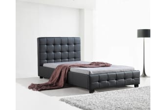 King Single PU Leather Deluxe Bed Frame Black