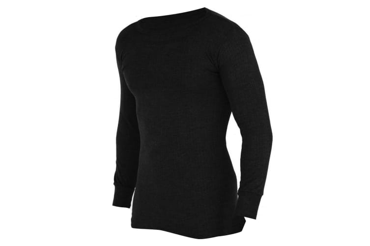 FLOSO Mens Thermal Underwear Long Sleeve Vest Top (Viscose Premium Range) (Black) (Chest: 44-46inch (X-Large))