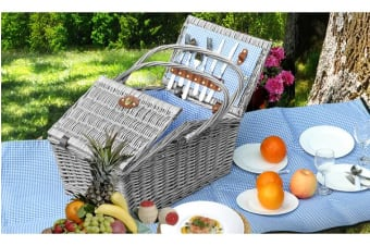 Wicker 4 Person Folding Handle Picnic Basket with Blanket