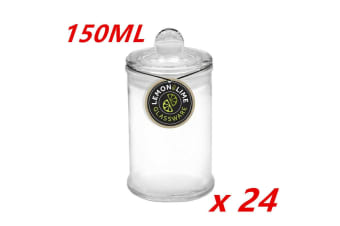 24 x 150ML Glass Apothecary Candy Jar with Lid Candy Candle Waxing Lolly Wedding