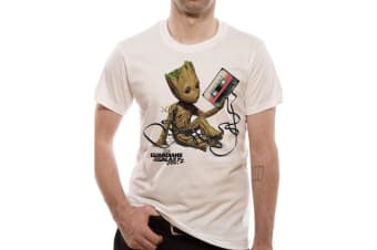 Guardians Of The Galaxy Vol 2 Unisex Adults Groot And Tape T-Shirt (White)