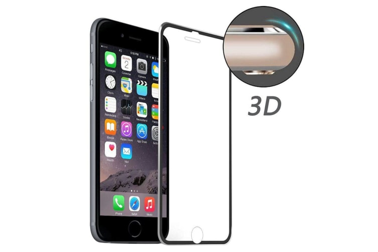For iPhone 8 PLUS 7PLUS Full 3D Aluminum Alloy Tempered Glass Screen Cover Black