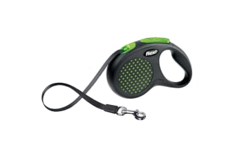 Bogdahn International Flexi Design Tape Dog Lead (Green Dot)