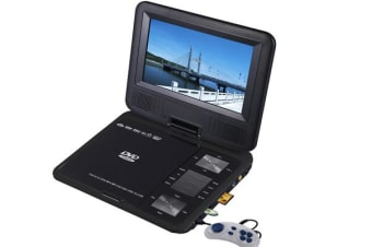"Portable 9"" Led Dvd Player Rechargeable Battery Usb Sd Game Avi Mp4 Mp3 Divx Vcd"