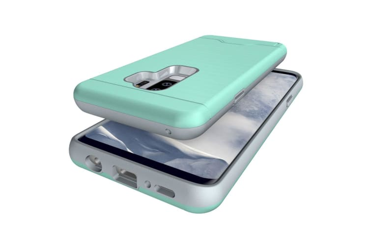 For Samsung Galaxy S9 PLUS Case Brushed Texture Cover  Card Holder Mint Green