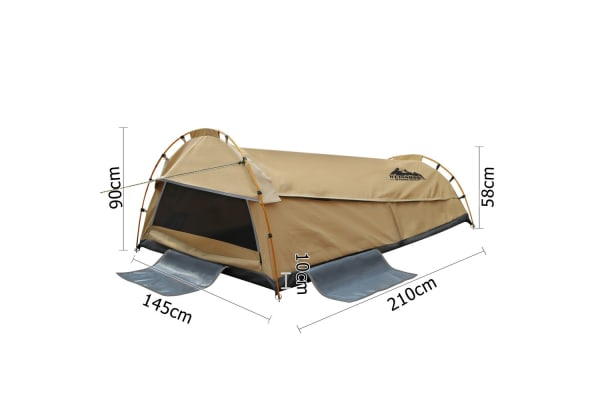 Double Camping Canvas Swag Tent with Air Pillow (Beige)