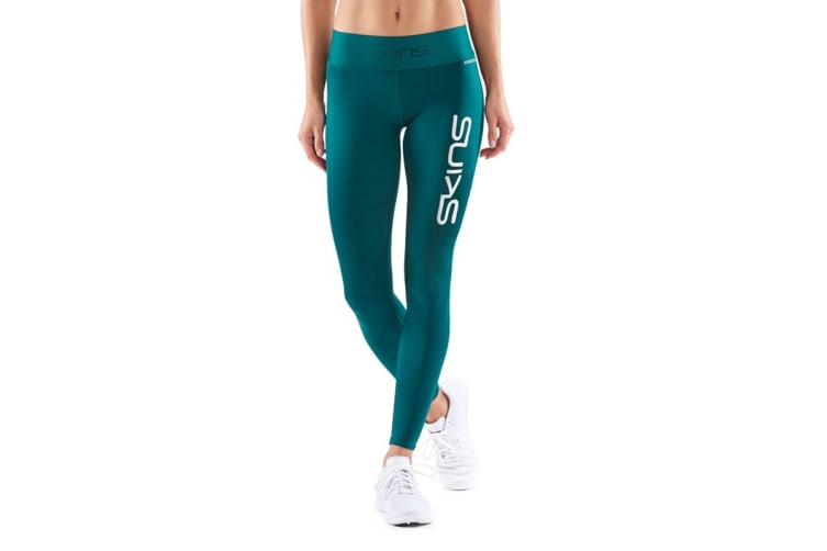 SKINS DNAmic Primary Women's Long Tights (Deep Teal Logo, Size S)