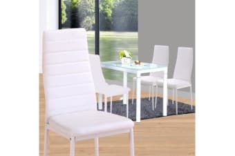 4 Pcs White PU Leather Modern Dining Chair