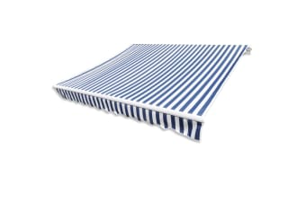vidaXL Awning Top Sunshade Canvas Blue & White 3 x 2.5m