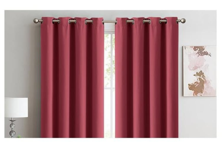 2X 100% Blockout Curtains Panels 3 Layers Eyelet WINE 140X230cm