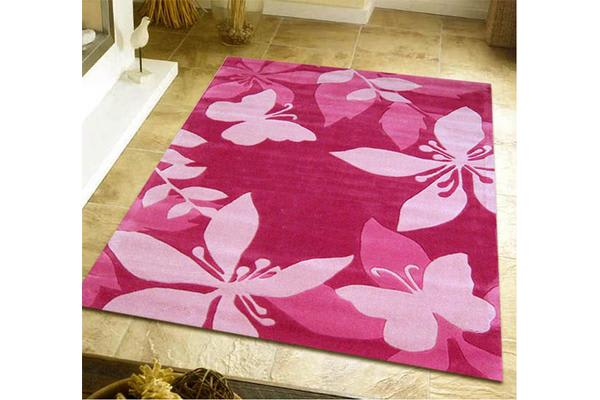 Pink Flower and Butterfly Rug 220x150cm