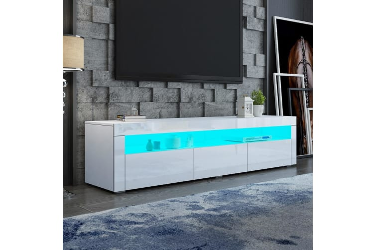 White Wooden TV Stand TV Table RGB LED High Gloss Front 196cm