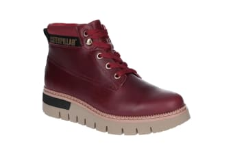 Caterpillar Womens/Ladies Pastime Wedge Lace Up Leather Boot (Wine)