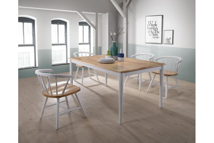 Dining Table 150 x 90cm Solid Wood 6 Seater Scandinavian - Natural + White