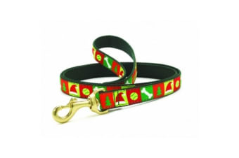 Up Country Christmas List Dog Lead (Red/Green)