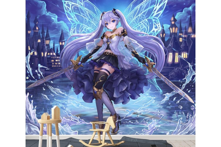 3D Wings Double Sword 38 Anime Wall Murals Woven paper (need glue), XXXL 416cm x 254cm (WxH)(164''x100'')