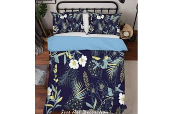 3D Flowers Pattern Black Background Quilt Cover Set Bedding Set Pillowcases  214-Queen
