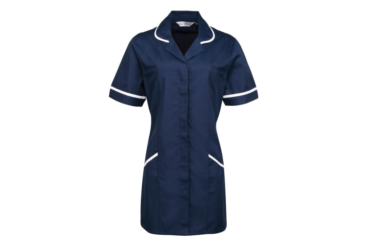 Premier Ladies/Womens Vitality Medical/Healthcare Work Tunic (Pack of 2) (Navy/ White) (16)