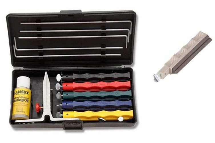 Lansky Deluxe Knife Sharpening System + Medium Serrated Hone LSMRT