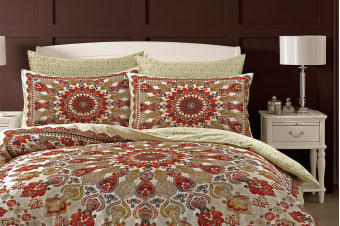 Style & Co 100 % Cotton Reversible Quilt Cover Set (Medallion)
