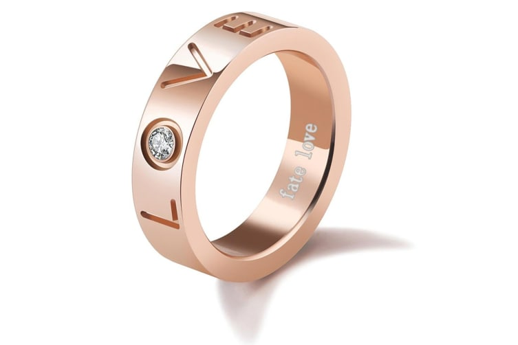 Fate Love Promise Ring  Rose Gold/Clear Size US 8