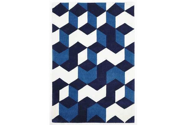 Cube Design Rug Navy Blue White 225x155cm
