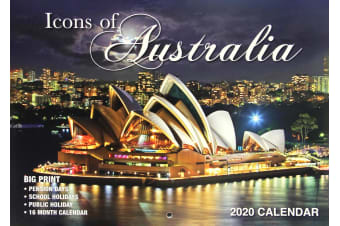 Icons Of Australia - 2020 Rectangle Wall Calendar 16 Months New Year Decor Gift