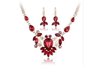 Silver Alloy Rhinestone Earrings Crystal Pendant Necklace Bridal Jewelry Set Red