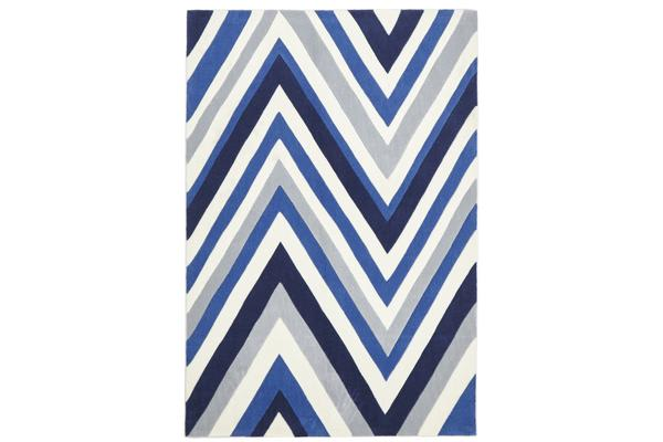 Multi Chevron Rug Navy Blue White 165x115cm