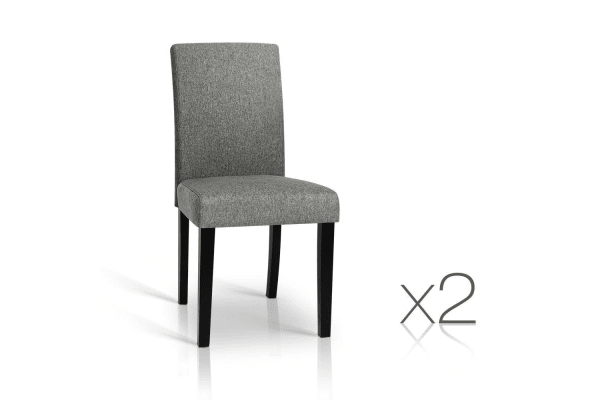 Set of 2 PU Leather Dining Chairs (Grey/Black)