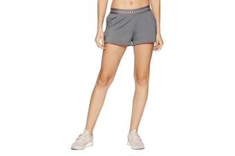 Under Armour Women's HeatGear 2-in-1 Shorts (Graphite/Brilliance, Size Large)