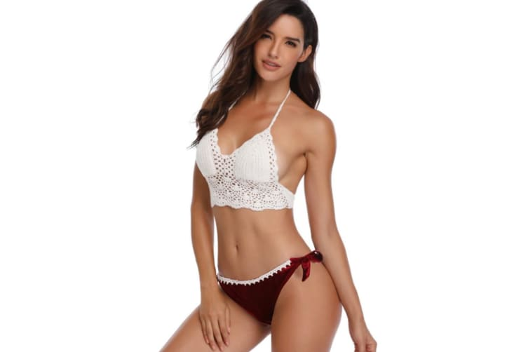 Women'S Knitted Bikini Split Hand Crocheted Sexy Swimming Suit - Red Red S