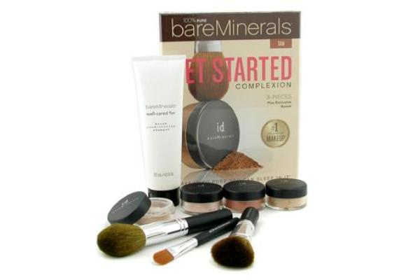 Bare Escentuals 100% Pure BareMinerals Get Started Complexion Kit - Tan (2xFdn Spf15+Tinted Mineral Veil+Face Color+3xBrush+DVD+Brush Shampoo) (-)