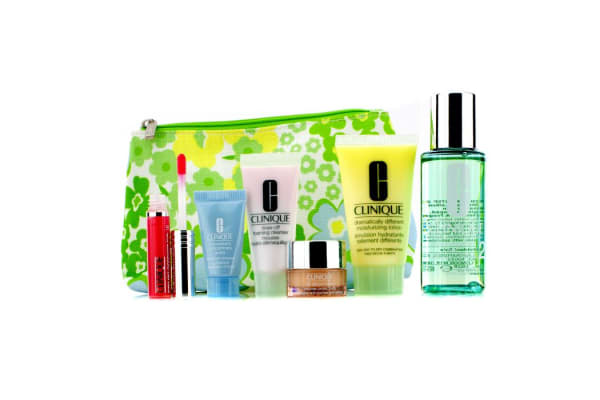 Clinique Travel Set: Foaming Cleanser + Moisture Lotion #2 + DDML + Turnaround Concentrate + All About Eyes + Lip Gloss #14 + Bag (6pcs+1bag)
