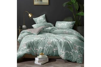 Giselle Bedding Quilt Cover Set King Bed Doona Duvet Reversible Sets Flower Pattern Green