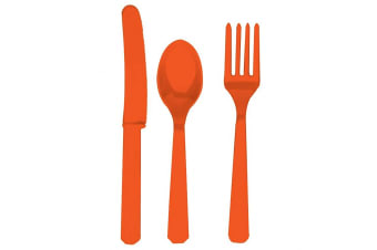 Amscan Plastic Party Cutlery Set (Knives  Forks & Spoons) (Set Of 24) (Orange Peel) (One Size)