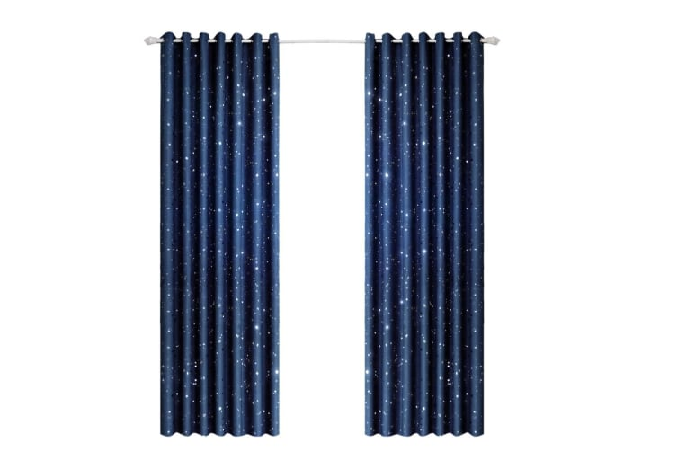 Star Blockout Blackout Curtains 3 Layers Eyelet Pure Fabric Room Darkening Navy Blue