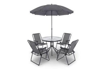 Gardeon 6 Piece Round Outdoor Dining Set (Grey)