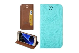 For Samsung Galaxy S7 Wallet Case Crocodile Texture Leather Cover Baby Blue