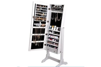 LED Light Full Length Mirror Jewellery Cabinet 3 Ways Stand - White