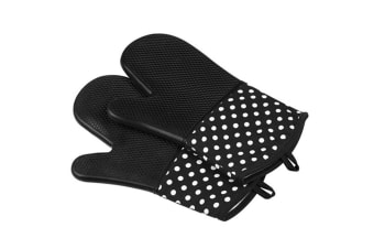 Extra Long Quilted Cotton Lining Heat Resistant Silicone Oven Mitts Black